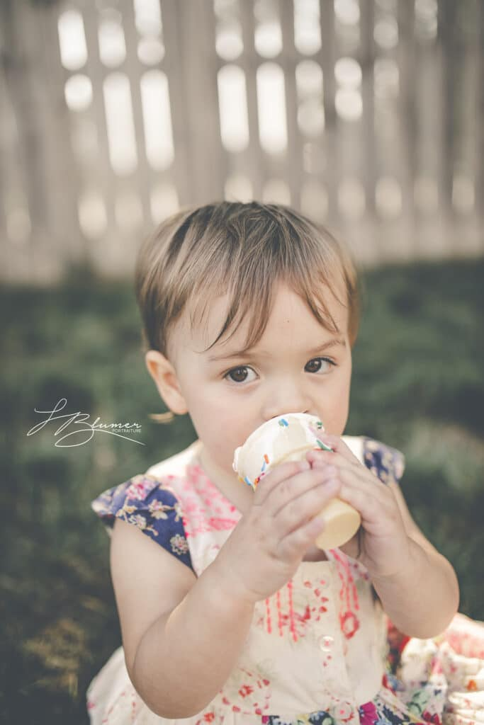 Toddler with vanilla cone